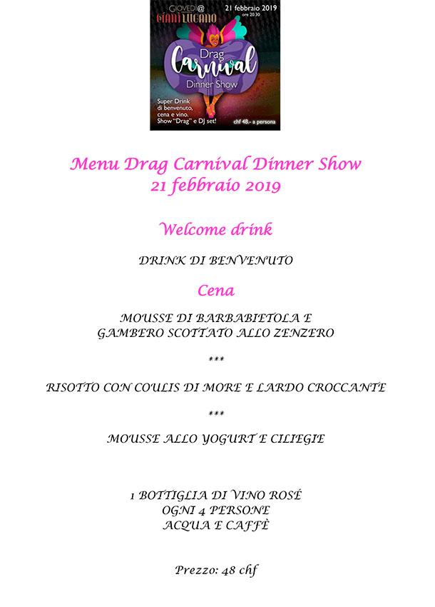 Dinner show menù tradizionale CianiLugano