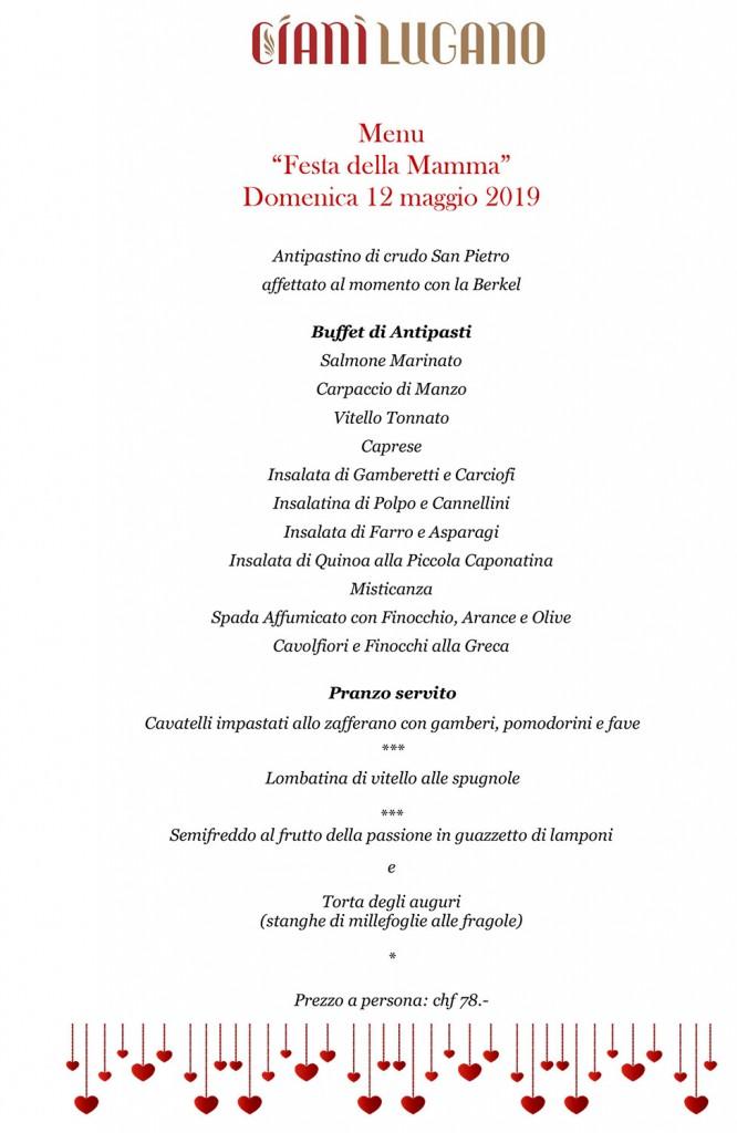 menu ciani festa della mamma 2019